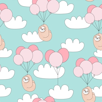 Seamless childish pattern with cute sloth with balloons.