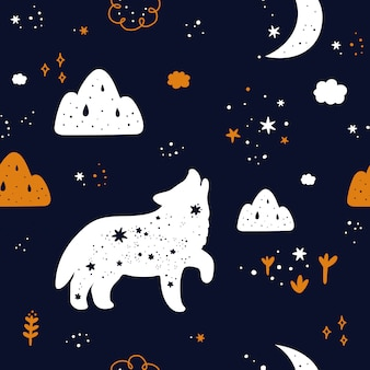 Seamless childish pattern with cute wolf animal silhouette, stars and moon