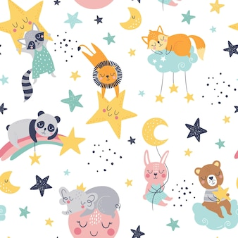 Seamless childish pattern with fox, bear, lion, panda, racoon, bunny, elephant, clouds, moon and stars.