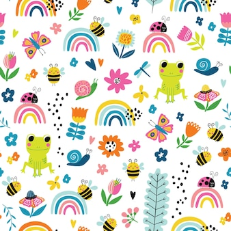 Бесшовные детский узор с лягушкой, радугой, пчелами, цветами и улитками в мультяшном стиле