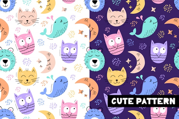 Seamless childish pattern with funny animals faces