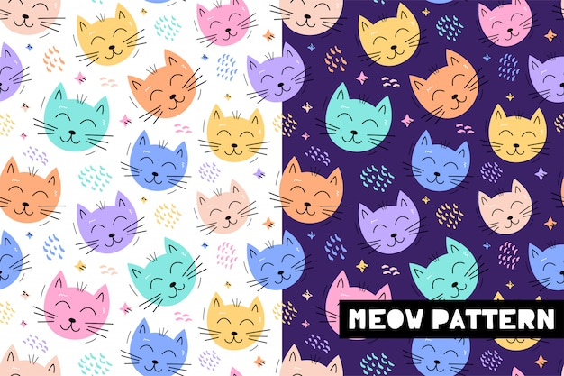 Seamless childish pattern with funny cat animals faces