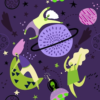 Seamless childish pattern with funny girls  with moons and starry sky.