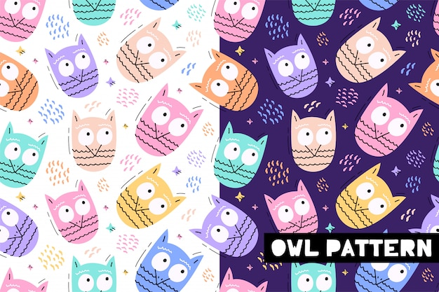 Seamless childish pattern with funny owl animals faces