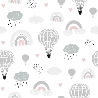 Seamless childish pattern with hand drawn ballons