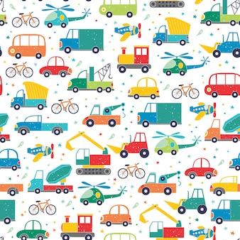 손으로 그린 만화 자동차와 원활한 유치 한 패턴입니다.
