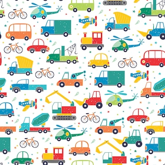 Seamless childish pattern with hand drawn cartoon cars.