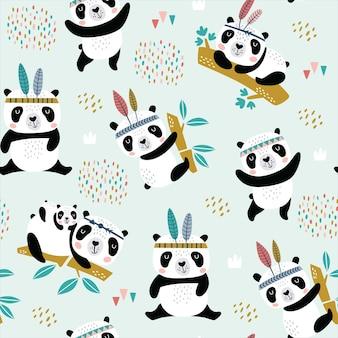 Seamless childish pattern with hand drawn cute pandas.