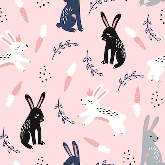 Seamless childish pattern with jumping rabbits