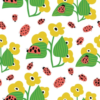 Seamless childish pattern with ladybird and flowers with leaves in cartoon style perfect for wallpa