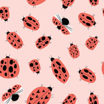 Seamless childish pattern with ladybirds in cartoon style perfect for wallpaper fabric texture wr