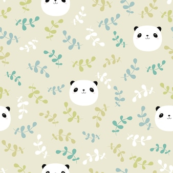 Seamless childish pattern with panda's head and  leaves.