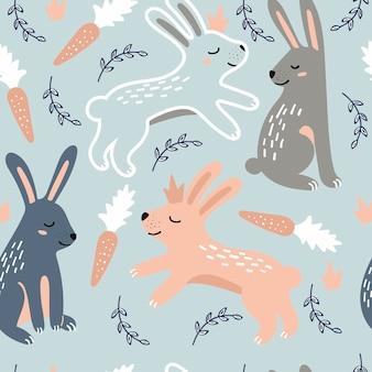 Seamless childish pattern with rabbits