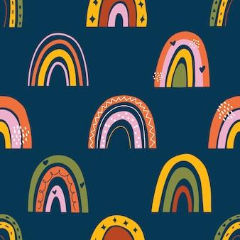 Бесшовный детский фон с радугами в скандинавском стиле