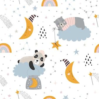 Seamless childish pattern with sleeping bear, panda, clouds, rainbows, moon, magic wand and stars.