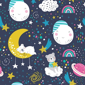 Seamless childish pattern with sleeping bears, clouds, rainbows, moon, planet and stars. Premium Vector