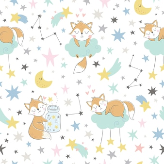 Seamless childish pattern with sleeping foxes, clouds, jar with stars and constellations.