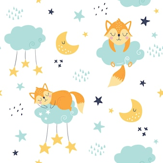 Seamless childish pattern with sleeping foxes, clouds, moon and stars.