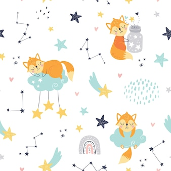 Seamless childish pattern with sleeping foxes, clouds, rainbow, jar with stars and constellations.