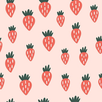 Seamless childish pattern with strawberry in cartoon style perfect for wallpaper fabric texture w