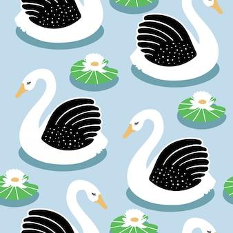 Seamless childish pattern with swan on lake.