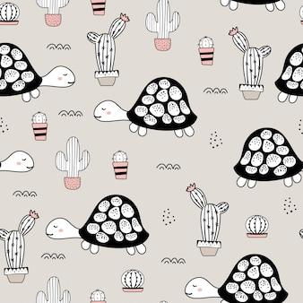 Seamless childish pattern with turtle