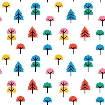 Бесшовный детский образец с абстрактным красочным деревом коллажа.