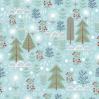원활한 크리스마스 추상 자연 패턴 겨울 숲 푸른 색 나무 눈 배경