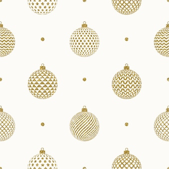 Seamless christmas background - glitter gold patterned christmas baubles.