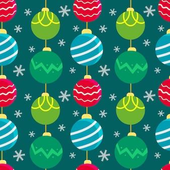 クリスマスツリーのおもちゃの花輪とシームレスなクリスマスの背景