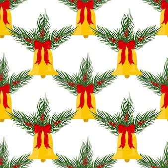 クリスマスの鐘と針葉樹の枝とのシームレスなクリスマスの背景