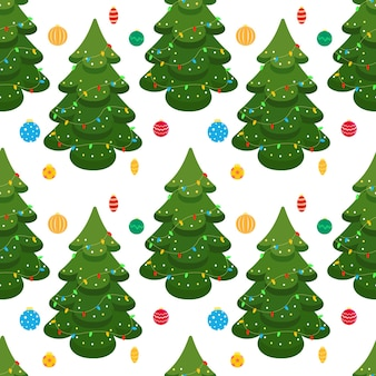 クリスマスツリーとガラスのクリスマスツリーのおもちゃとのシームレスなクリスマスの背景