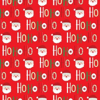 Seamless christmas background with ho ho ho script and cute santa face
