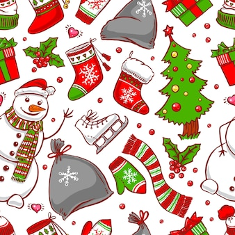 Seamless christmas background with holiday attributes and smiling snowman. hand-drawn illustration