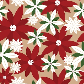 Seamless christmas background with poinsettia