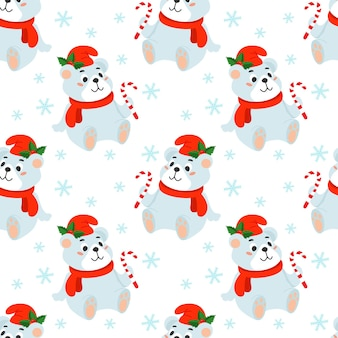 Seamless christmas background with a polar bear in a red hat and a candy cane in its paw.