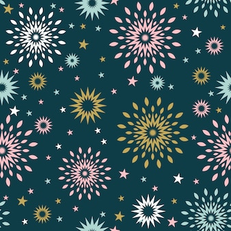 Seamless christmas background with star burst