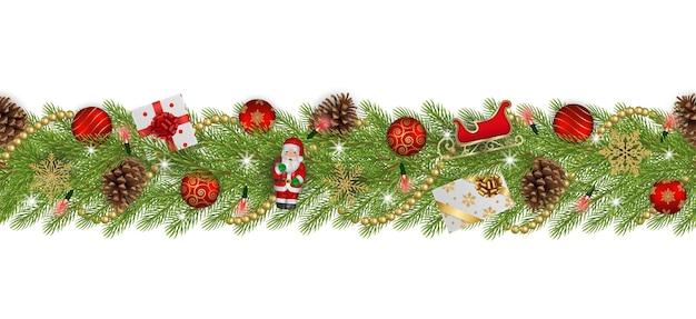 Бесшовные рождественский баннер с сосновыми ветками и украшениями