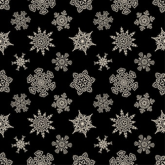 Seamless christmas black pattern with drawn snowflakes