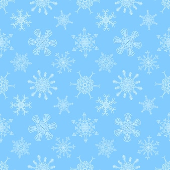 Seamless christmas blue pattern with drawn snowflakes