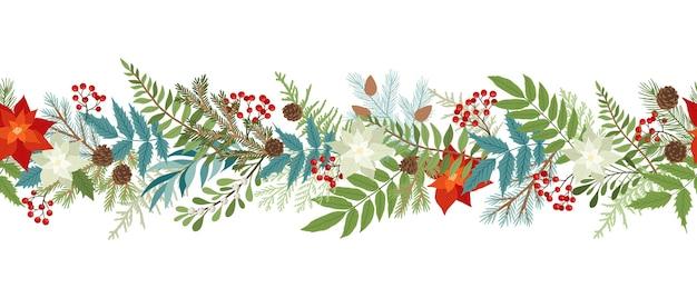 Бесшовные рождественские границы с зимними растениями