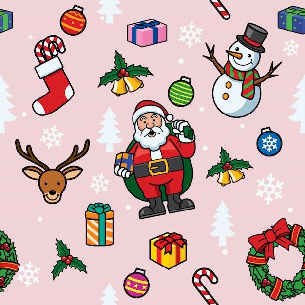 Seamless christmas cartoon pattern