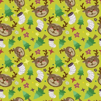 Seamless christmas cute deer pattern