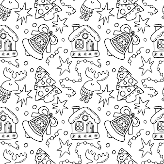 Seamless christmas doodle pattern with house bell and christmas tree