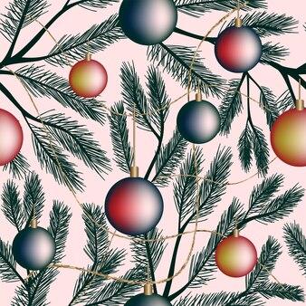 シームレスなクリスマスお祭りパターン白い背景グラデーション新年ボールモミ枝