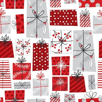 Seamless christmas gift with red and white colored