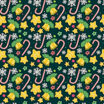 Seamless christmas golden bell candy pattern