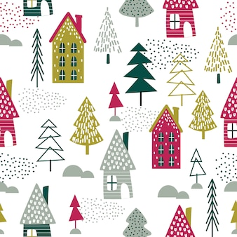 シームレスなクリスマスの家とクリスマスツリーデザインベクトルイラスト