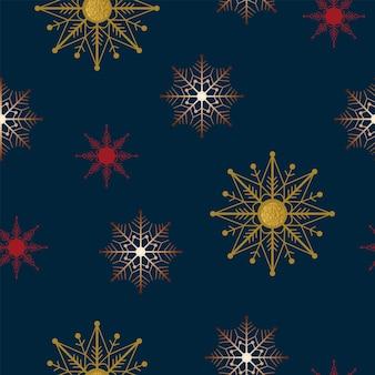 원활한 크리스마스 자연 패턴 눈송이 진한 파란색 배경 새해 패브릭 소재 포장