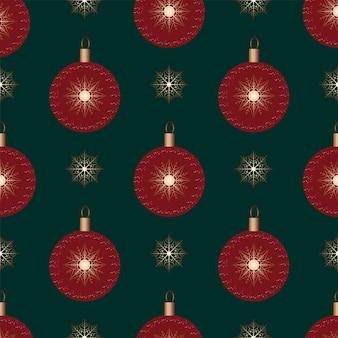원활한 크리스마스 자연 패턴 겨울 짙은 녹색 배경 크리스마스 공 새해